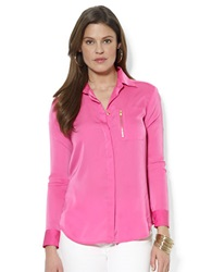 Lauren Ralph Lauren Zip Pocket Satin Blouse Pink