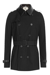 Burberry London Cotton Trench Coat With Leather Collar Black