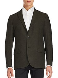 J. Lindeberg Wool Blend Two Button Jacket Brown