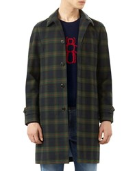 Gucci Plaid Rabbit Embroidered Topcoat Caspian Multi Colors