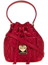 Love Moschino Medium Quilted Bucket Tote Red