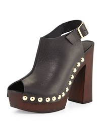Charles David Ciao Studded Leather Sandal Black