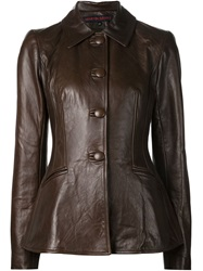 Martin Grant Fitted Waist Leather Jacket Brown