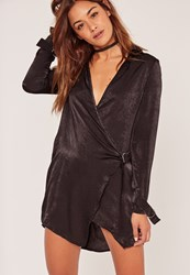 Missguided Black Hammered Satin Wrap Over D Ring Dress
