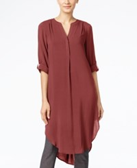 Cable And Gauge Tunic Shirt Burgundy