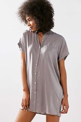 Silence And Noise Satin Mini Shirt Dress Light Grey