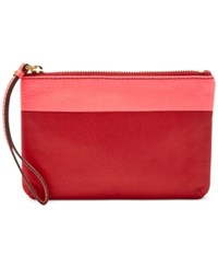 Fossil Keely Colorblock Leather Wristlet Red Multi
