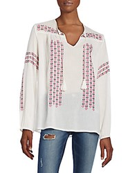 Joie Nira Embroidered Tunic Top Porcelain