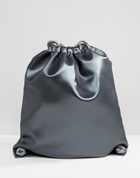 Boopacks Metallic Drawstring Backpack Silver