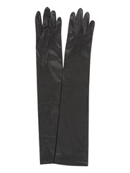 Jacques Vert Long Satin Evening Gloves Black