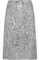 Nina Ricci Sequined Voile Skirt Silver