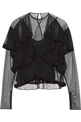 Preen By Thornton Bregazzi Elvina Ruffled Tulle Blouse Black