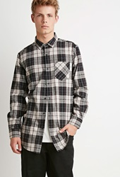 Forever 21 Zippered Plaid Flannel Shirt Cream Navy