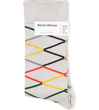 Bonne Maison Zig Zag Stripe Cotton Ankle Socks Cream