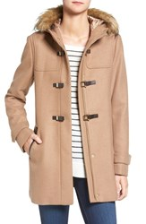 Cole Haan Signature Women's Hooded Duffle Coat With Faux Fur Trim Camel