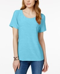 Jm Collection Short Sleeve Wave Texture Jacquard Top Only At Macy's Turquoise Pool
