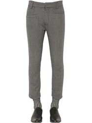 Haider Ackermann Cropped Micro Houndstooth Wool Pants