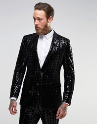 Asos Super Skinny Suit Jacket In Sequin Black