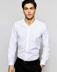 Hart Hollywood By Nick Hart V Neck Shirt In Slim Fit White