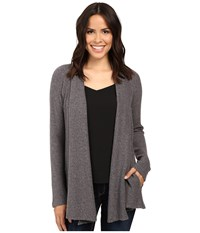 B Collection By Bobeau Lynne Knit Cardigan Charcoal Grey Women's Sweater Gray