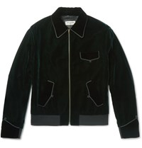 Saint Laurent Embroidered Velvet Blouson Jacket Dark Green
