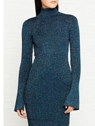 By Malene Birger Errandi Lurex Bell Sleeve Knitted Top Teal