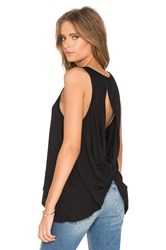 Bobi Light Weight Jersey Open Back Scoop Neck Tank Black