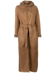Max Mara 'S Long Sheepskin Wrap Coat Brown