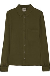 Haute Hippie Silk Crepe Shirt Army Green