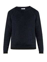 Fanmail Ribbed Knit Cotton And Linen Blend Sweater Navy