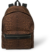 Saint Laurent Leather Trimmed Leopard Print Backpack Brown