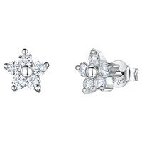 Jools By Jenny Brown Cubic Zirconia Flower Stud Earrings Silver