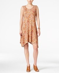 Styleandco. Style Co. Paisley Print Crochet Back Shift Dress Only At Macy's Rust Combo