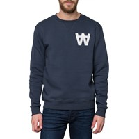 Wood Wood Navy Logo Sweater Blue