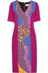 Peter Pilotto Printed Stretch Wool Crepe Dress Purple