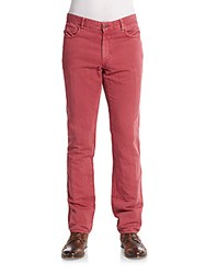 Incotex Five Pocket Linen And Cotton Washed Jeans Dark Pink