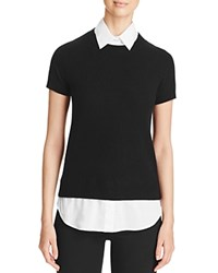 Bloomingdale's C By Layered Look Cashmere Sweater Black