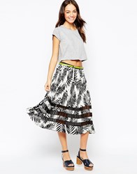 Yumi Midi Skirt In Tropical Print With Block Stripe Multi