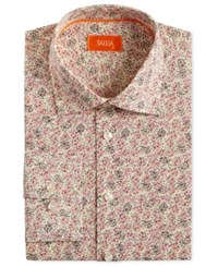 Tallia Men's Fitted Floral Print Dress Shirt Pink