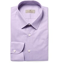 Canali Lilac Slim Fit End On End Cotton Shirt Purple