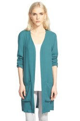 Trouve Long Open Cardigan Green