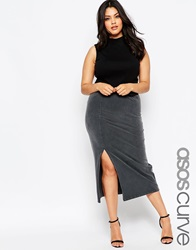 Asos Curve Midi Pencil Skirt In Acid Wash With Thigh Split Grey