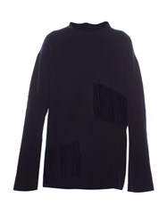 Stella Mccartney Shredded Panels Oversized Sweater Navy
