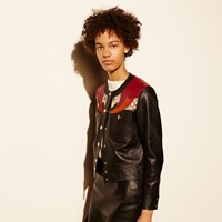 Coach Applique Yoke Collarless Leather Jacket Black