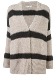 Brunello Cucinelli Striped Open Cardigan Nude And Neutrals