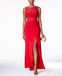 Nightway Petite Illusion Mesh Slit Gown Red