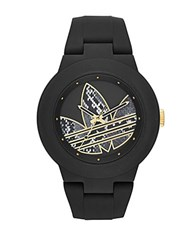 Adidas Matte Black Silicone And Goldtone Logo Print Watch