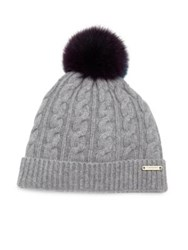 Burberry Cable Knit Wool Cashmere And Fox Fur Beanie Grey Melange