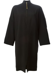 Gianfranco Ferre Vintage Oversized Front Zip Dress Black