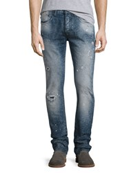 Prps Distressed Spay Bleached Relaxed Slim Jeans Indigo